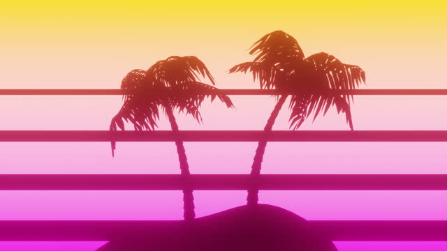 sunset behind a tropical island - 80s retro background - tropical climate stock videos & royalty-free footage