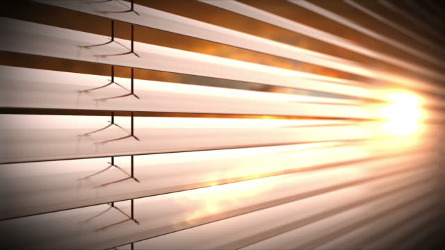 sunset behind vertical blinds. loopable cg. - blinds stock videos & royalty-free footage