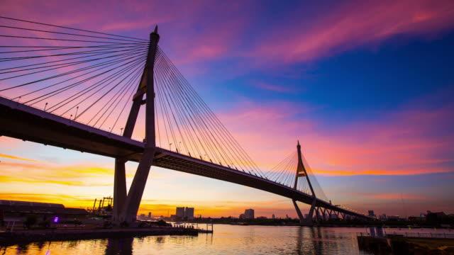 Sunset Bhumibol 1-Brücke.