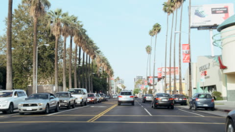 pov sunset blvd., hollywood, los angeles, united states - sunset boulevard los angeles stock videos & royalty-free footage