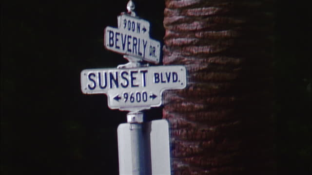 zo sunset boulevard sign, beverly hills - sunset boulevard stock-videos und b-roll-filmmaterial