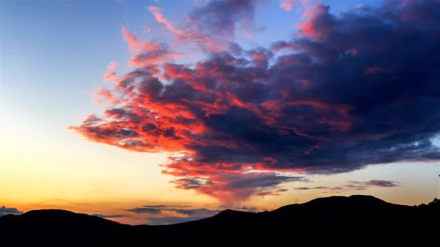 sunset clouds on hambaeksan mountain / jeongseon-gun, gangwon-do, south korea - hill stock videos & royalty-free footage