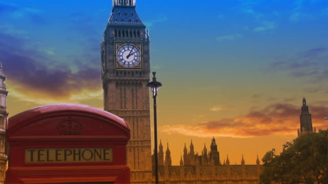COMPOSITE, MS, Sunset clouds passing behind Big Ben and telephone booth, London, England