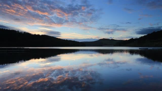 Sunset colours, Ladybower Reservoir, Derbyshire, Peak District National Park, England, UK