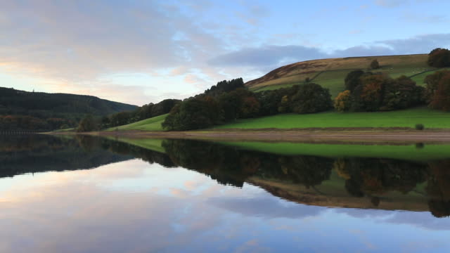Sunset colours, Ladybower Reservoir, Derbyshire, Peak District National Park, England, UK