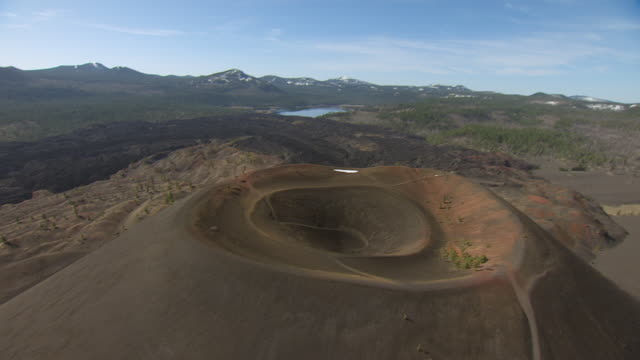 WS DS AERIAL POV Sunset Crater volcano cinder cone in Volcano National Monument, California
