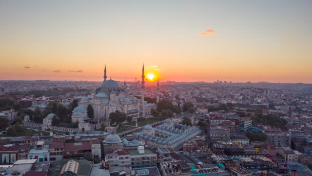 sunset drone video of süleymaniye mosque - middle east stock videos & royalty-free footage