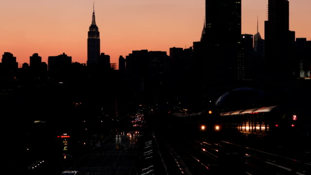 sunset dusk subway train in new york city - underground train stock videos & royalty-free footage