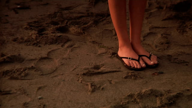 sunset feet - flip flop stock videos and b-roll footage