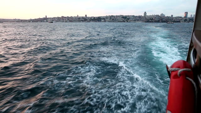 sunset from ferry in bosphorus - horned stock videos & royalty-free footage