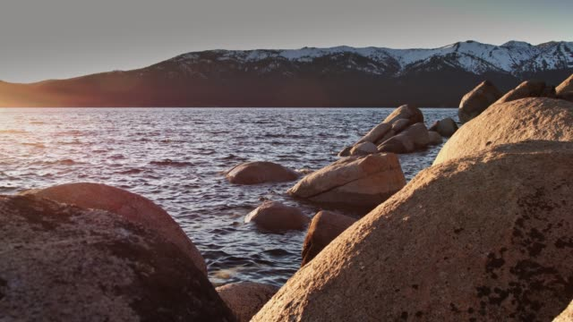 sunset from sand harbor, lake tahoe - state park stock videos & royalty-free footage