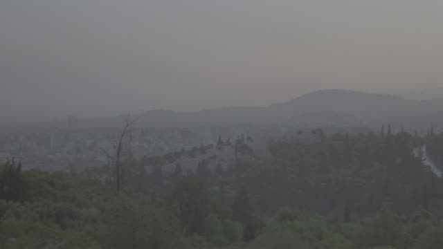 sunset greek mountain top ruins - greece stock videos & royalty-free footage