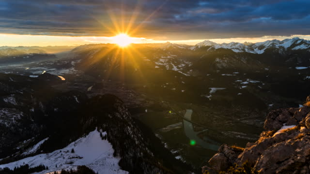 sunset in austrian alps - timelapse 4k - austria stock videos & royalty-free footage