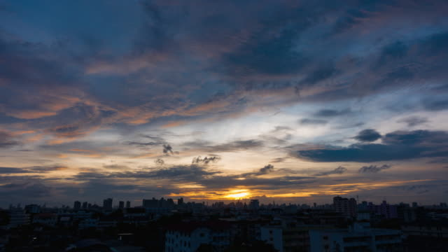 Sunset In Bangkok City : Day To Night Time-Lapse clouds sky scape.