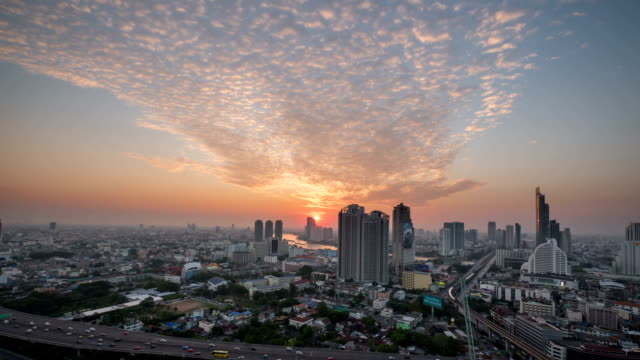 sunset in bangkok city : day to night time-lapse - day to night stock videos & royalty-free footage