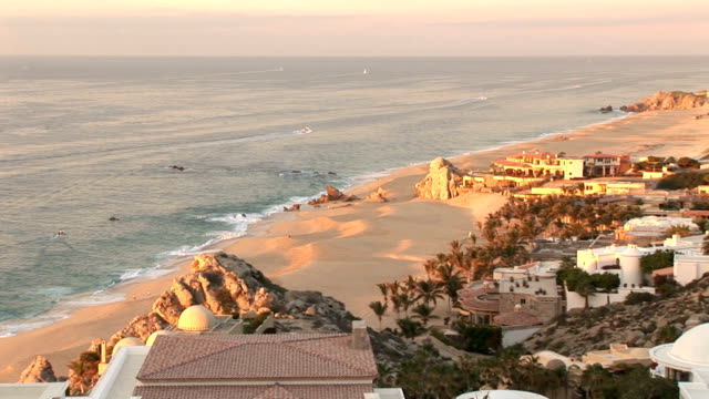 sunset in cabo's beach, house - cabo san lucas stock videos and b-roll footage
