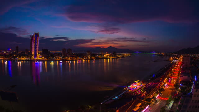 sunset in danang ending in fireworks, central vietnam, asia - distant stock videos & royalty-free footage