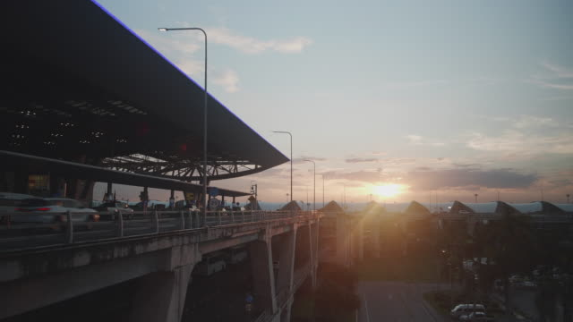 sunset in front of the suvarnabhumi airport - twilight stock videos & royalty-free footage