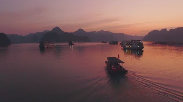 sunset in ha long bay, vietnam - vietnam stock videos & royalty-free footage