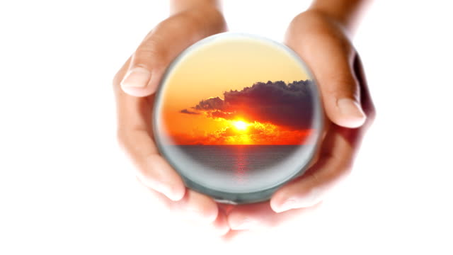 sunset in hands - crystal ball stock videos & royalty-free footage