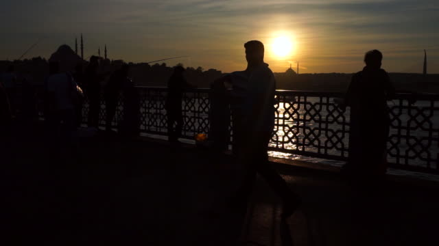 sunset in istanbul. - golden horn istanbul stock videos and b-roll footage