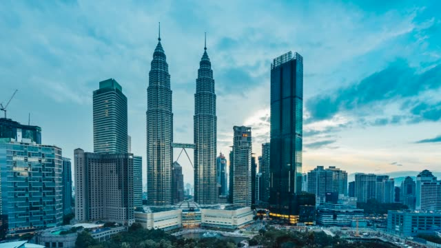sunset in kuala lumpur - 4k timelapse - malaysia stock videos and b-roll footage