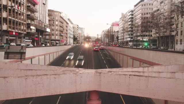 sunset in lisbon - avenida stock videos & royalty-free footage