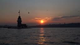 Sunset in Maiden Tower - Kizkulesi - Istanbul, Turkey