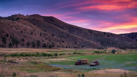 sunset in oregon farm - time lapse - valley stock videos & royalty-free footage