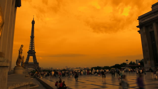 sunset in paris - international landmark stock videos & royalty-free footage