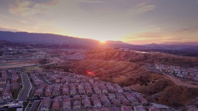 sunset in suburbia - aerial view - santa clarita stock videos & royalty-free footage