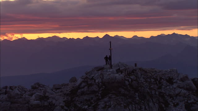 Sunset in the Alps, aerial cinematography