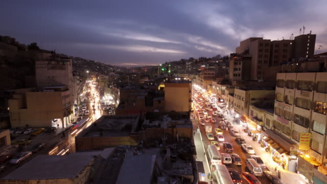 TL - Sunset in the city center of Amman, Jordan, Middle East