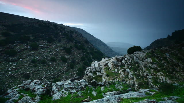 sunset in the galilee region, the birthplace of jesus. - kieferngewächse stock-videos und b-roll-filmmaterial