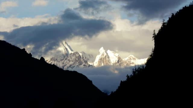 Sunset in the Himalaya Mountains, Annapurnas, Nepal