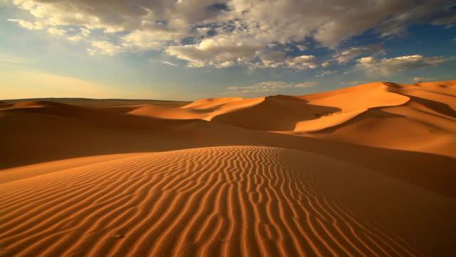 Sunset in the sand dunes of the Gobi Desert