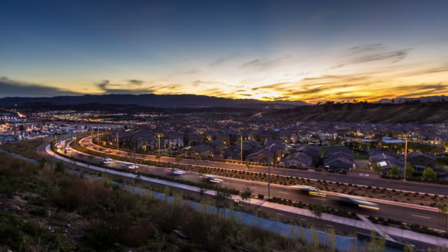 sunset in the suburbs - time lapse - santa clarita stock videos & royalty-free footage