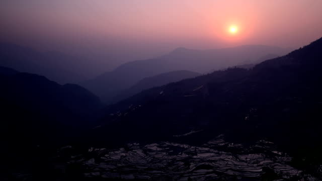 Sunset in Tiger mouth(Laohuzui)terraced fields