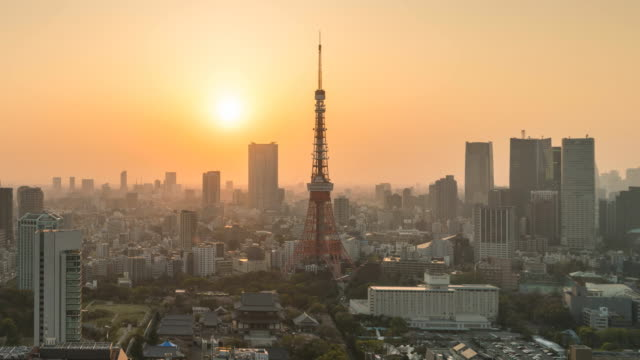 Sunset in Tokyo city at twilight