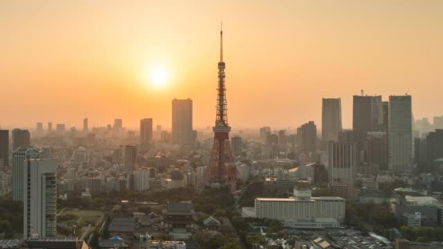 Zonsondergang in de stad Tokio in schemerlicht