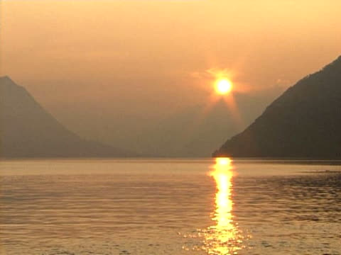 sunset lake lucerne - lake lucerne stock videos & royalty-free footage