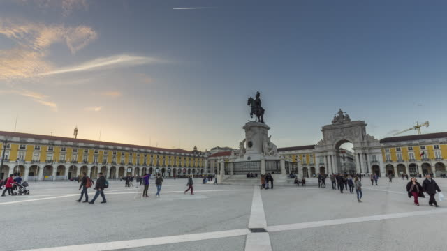 Sunset motion timelapse (hyperlapse) of the famous Commerce Square in Lisbon. Portugal. April, 2017
