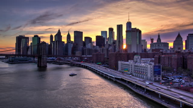 hdr sunset new york city time lapse downtown manhattan - high dynamic range imaging stock videos and b-roll footage
