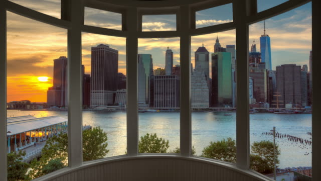 Sunset New York cityscape time lapse window panorama cityscape Manhattan