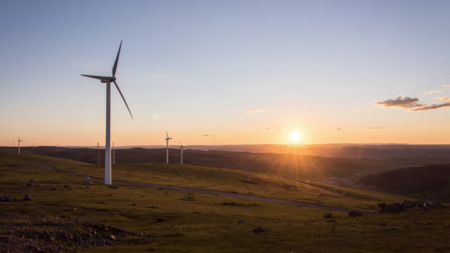 Sunset of A Wind Power Plant