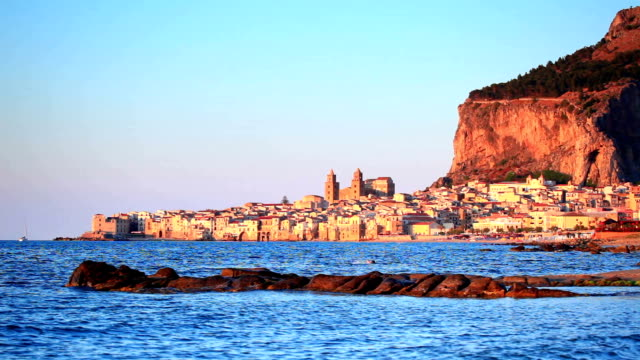 sunset of cefalu town - sicily stock videos & royalty-free footage