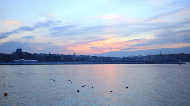Sonnenuntergang auf die Stadt Genf.