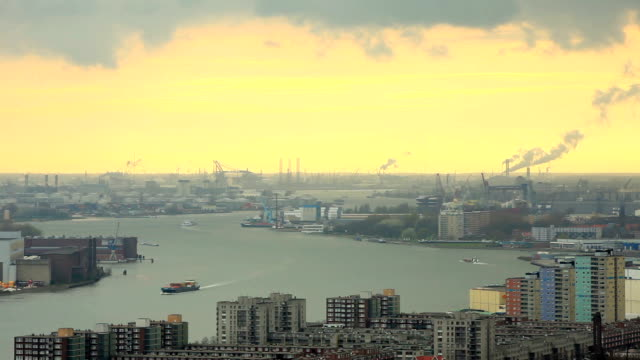 sunset of rotterdam harbor,elevated view - rotterdam stock videos and b-roll footage