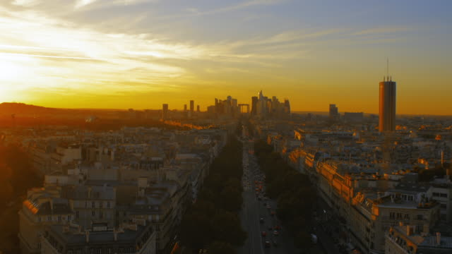 Sunset of skyscraper office business in La Defense, Paris.