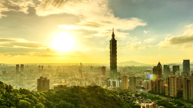 sunset of taipei 101 - taiwan stock videos and b-roll footage